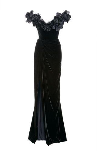 b861b45b Velvet Off The Shoulder Column Gown by MARCHESA for Preorder on Moda  Operandi