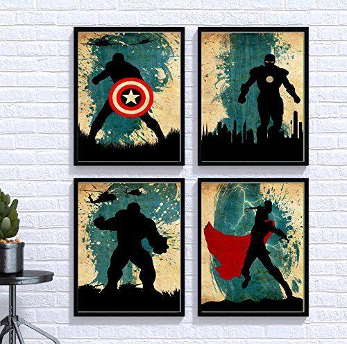 Avengers Poster Set Vintage Poster Marvel Movie Print Minimalist Avengers Poster Artwork Wall Art Home Decor W Avengers Wall Art Poster Artwork Avengers Poster