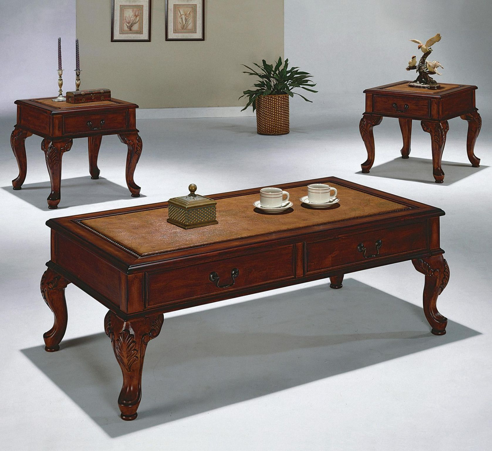 Explorer 3 Piece Table Set Coffee And 2 End Tables 299 00 Coffee Table 189 00 50 X 26 X Cherry Wood Coffee Table Coffee Table Coffee Table Rectangle