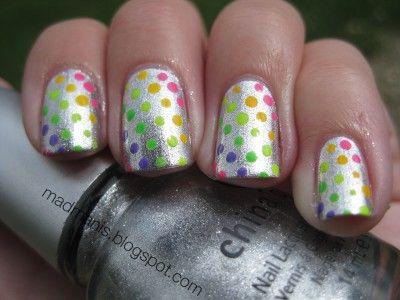 metallic with rainbow dots.  LOVE!