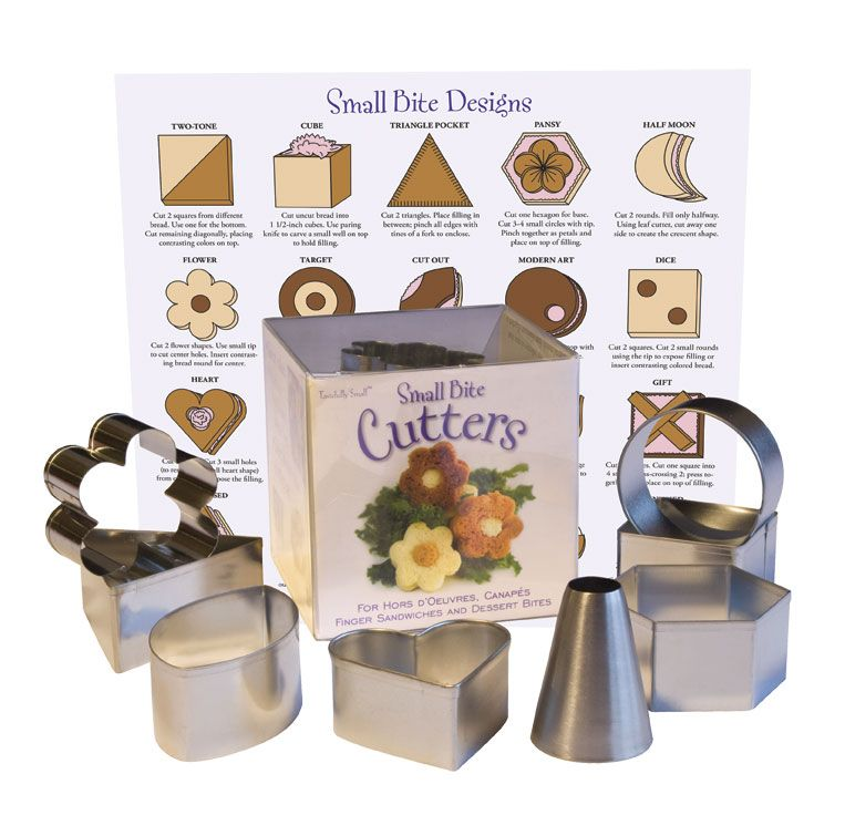 My new small bite cutter set for beautiful sandwiches and for Mini canape cutters
