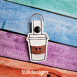 Coffee smile snap tab designSnap tab keyfob coffee cup