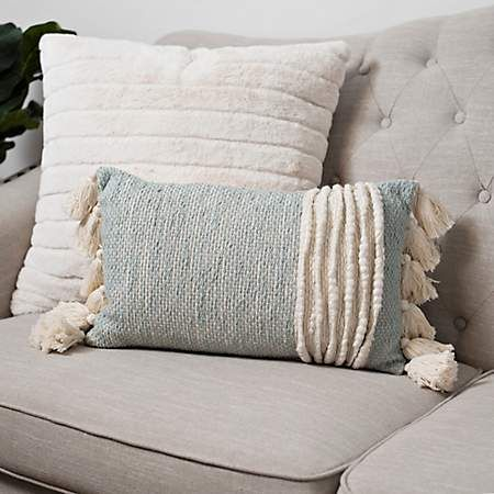 Textured Wool Accent Pillow with Tassels is part of Modern Home Accents Texture -