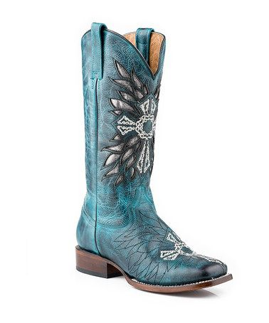 Another great find on #zulily! Blue & Silver Metallic Cross Square Toe Leather Cowboy Boot by Roper #zulilyfinds