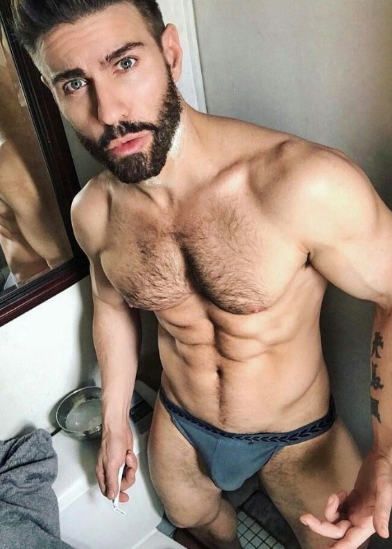 Male Model Good Looking Beautiful Man Guy Hot Sexy Handsome Eye Candy Beard Muscle Hairy Chest Abs Sixpack Shirtless Underwear