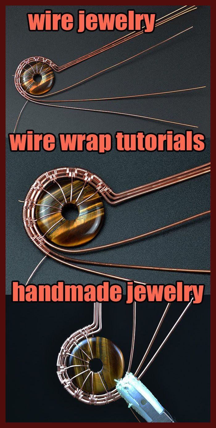 Photo of Jewelry making from copper wire. How to make wire wrapped pendant step by step.