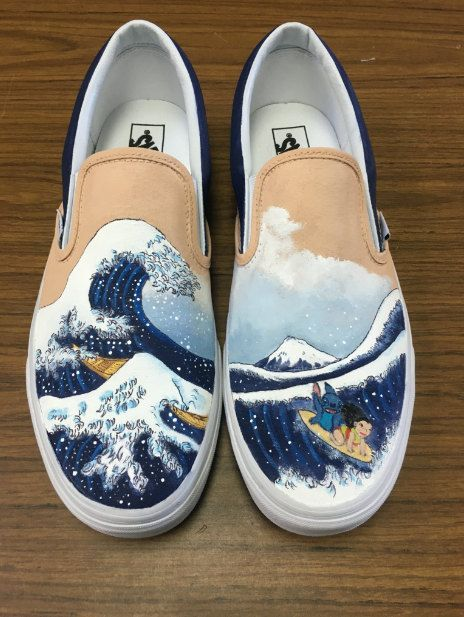 648a8e46fab560 VANS The Great Wave off Kanagawa featuring Lilo by CustomShoesByHeather