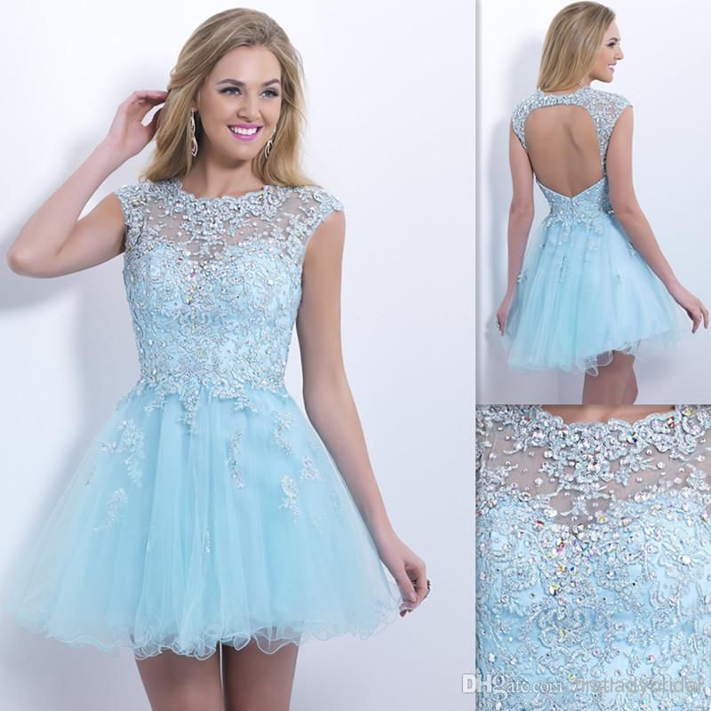 ec441587ff61 2015 Formal Sheer Backless Homecoming Dresses Cap Sleeves Sky Blue Tulle Appliques  Lace Beaded Short Prom Gowns A Line Graduation Dress Usa Homecoming ...