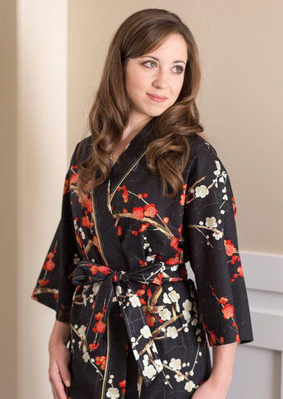 2edaf49972 Kimono Robe Womens Long Mid calf robe Plus Size Bridesmaid robes Maternity  Robe Dressing gown Hospital Yukata GG Black Red Gold