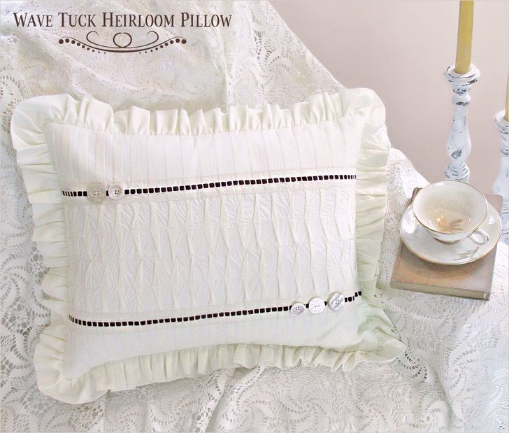 Heirloom Pillow with Wave Tucks and Woven Lace | Sew4Home | Pillows ...