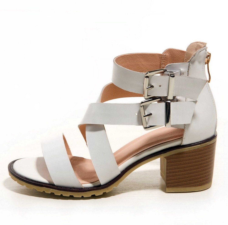Amazon Com Allhqfashion Women S Open Round Toe Cow Leather Solid Kitten Heels Sandals With Chunky Heels Shoes Kitten Heel Sandals Sandals Heels Kitten Heels