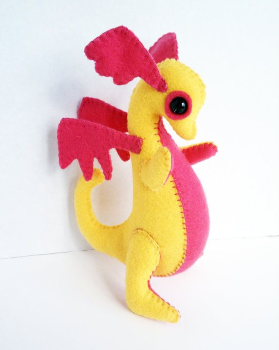 Baby Dragon felt plush stuffed animal golden by LiveDreamCreate1