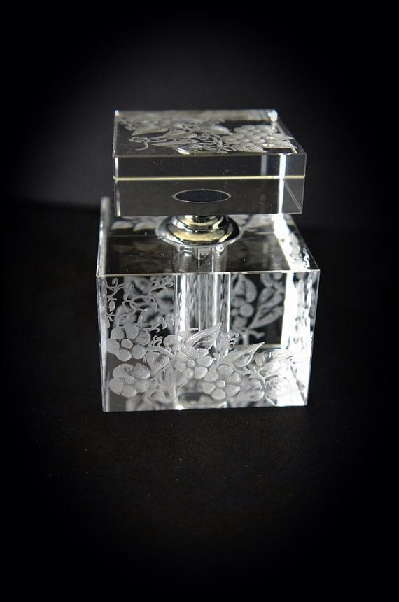 Oleg Cassini perfume bottle hand engraved with by AkokoArt on Etsy, $155.00