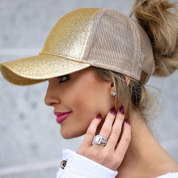 3e25718725d Glitter Ponytail Baseball Cap Women Snap-back Hat Summer Messy Bun Mesh Hats  Casual Adjustable Sport Caps