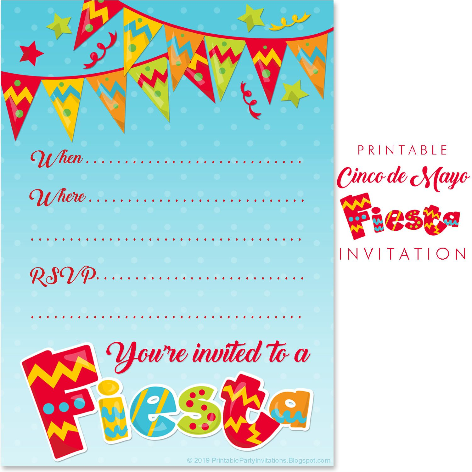 Mexican Fiesta Party Invitations Free Printable Party Invitations Mexican Party Invitation Party Invite Template Free Printable Party Invitations