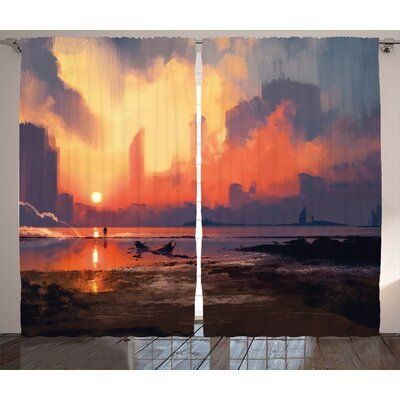 East Urban Home Ambesonne Fantasy World Curtains, Man On Sandy Beach With City S…