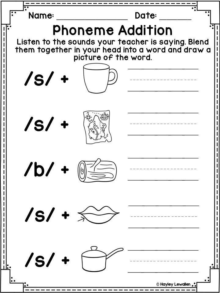 Phoneme Addition Phonemic Awareness Printables Kindergarten Worksheets Kindergarten Worksheets Printable Phonemic Awareness Phonological awareness worksheets for kindergarten