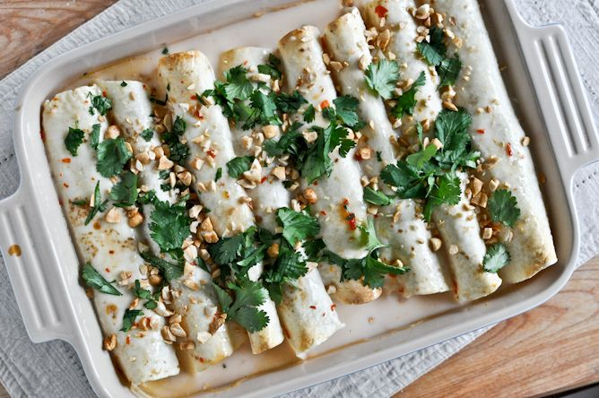 Seriously good,  two of my favorites combined: Thai Chicken Enchiladas. Made with healthy coconut milk & lots of veggies.