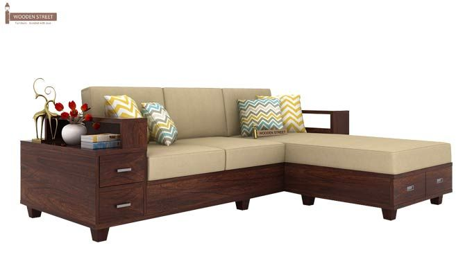 Buy Solace L Shaped Wooden Sofa Walnut Finish Online In India Wooden Street Living Room Sofa Design Wooden Sofa Sofa Bed Design
