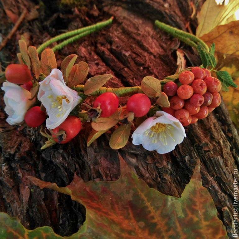 """Купить ободок """"Рыжая осень"""" - разноцветный, ободок для волос, ободок, ободок с цветами, ободок для девочки"""