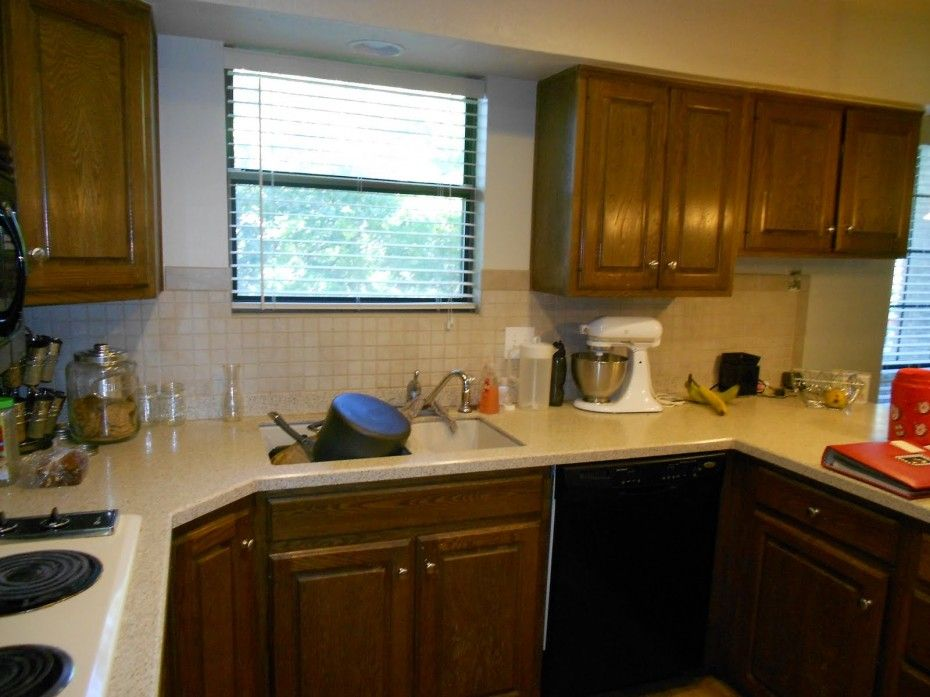 This is what brown cabinets with light countertop looks ...