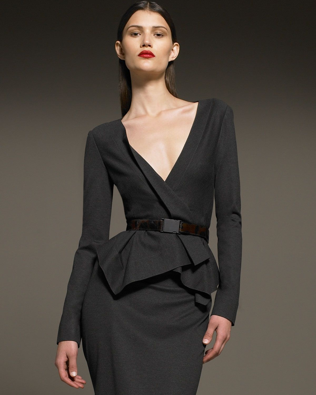 4db9458bfd10 Donna Karan Belted Cascade Jacket   Drape Back Pencil Skirt ...