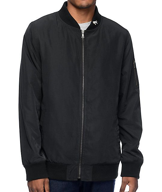 Ninth Hall Deprivation Black Nylon Bomber Jacket | Nylon bomber ...