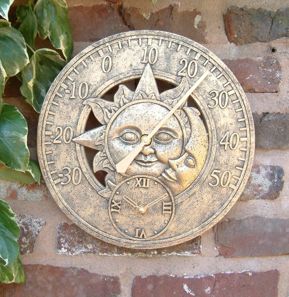 Charmant Outdoor Indoor Garden Wall Clock Thermometer 12 Inch Sun And Moon Ds1036