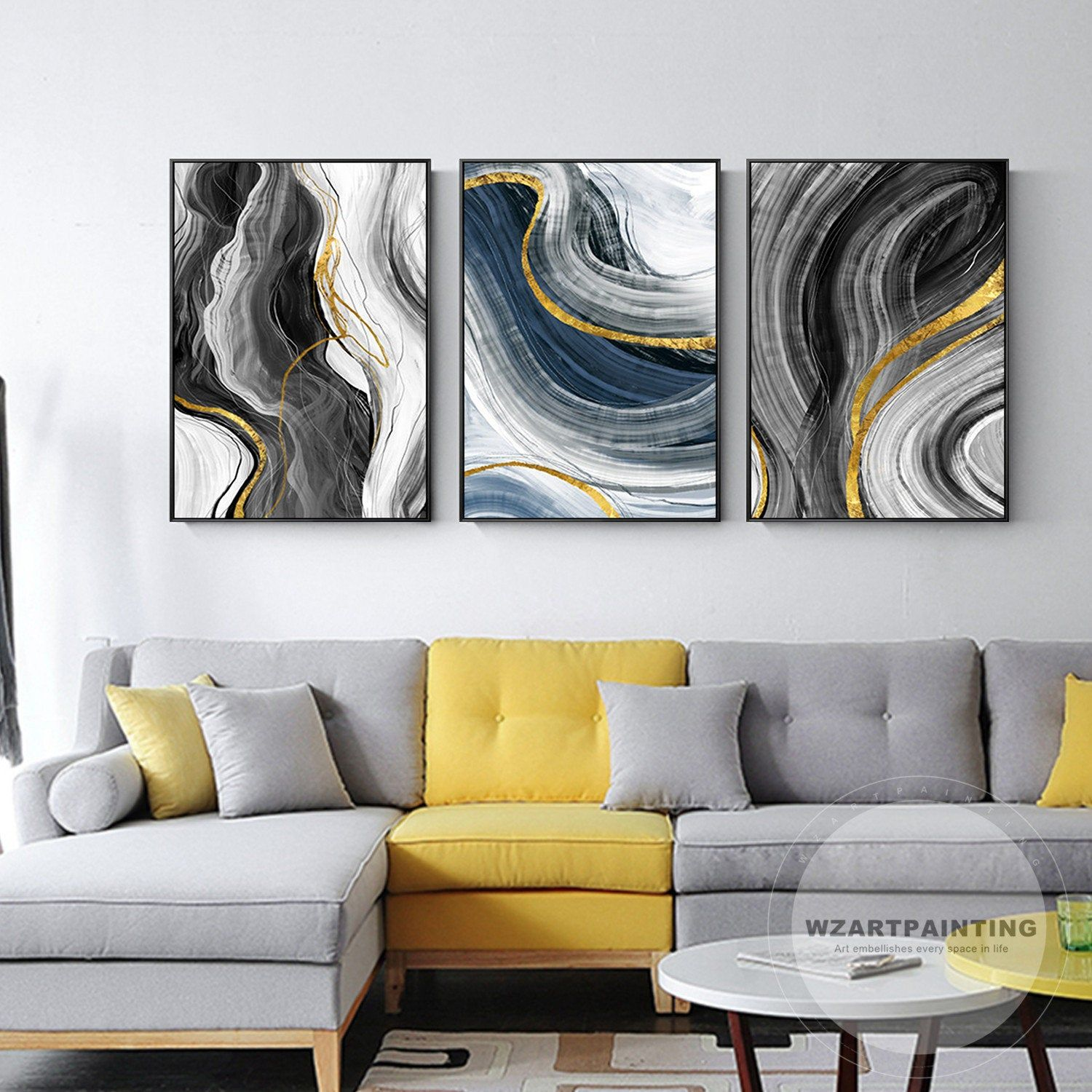 Set Of 3 Framed Wall Art Abstract Gold Grey Black Print Etsy Abstract Canvas Prints Horizontal Painting