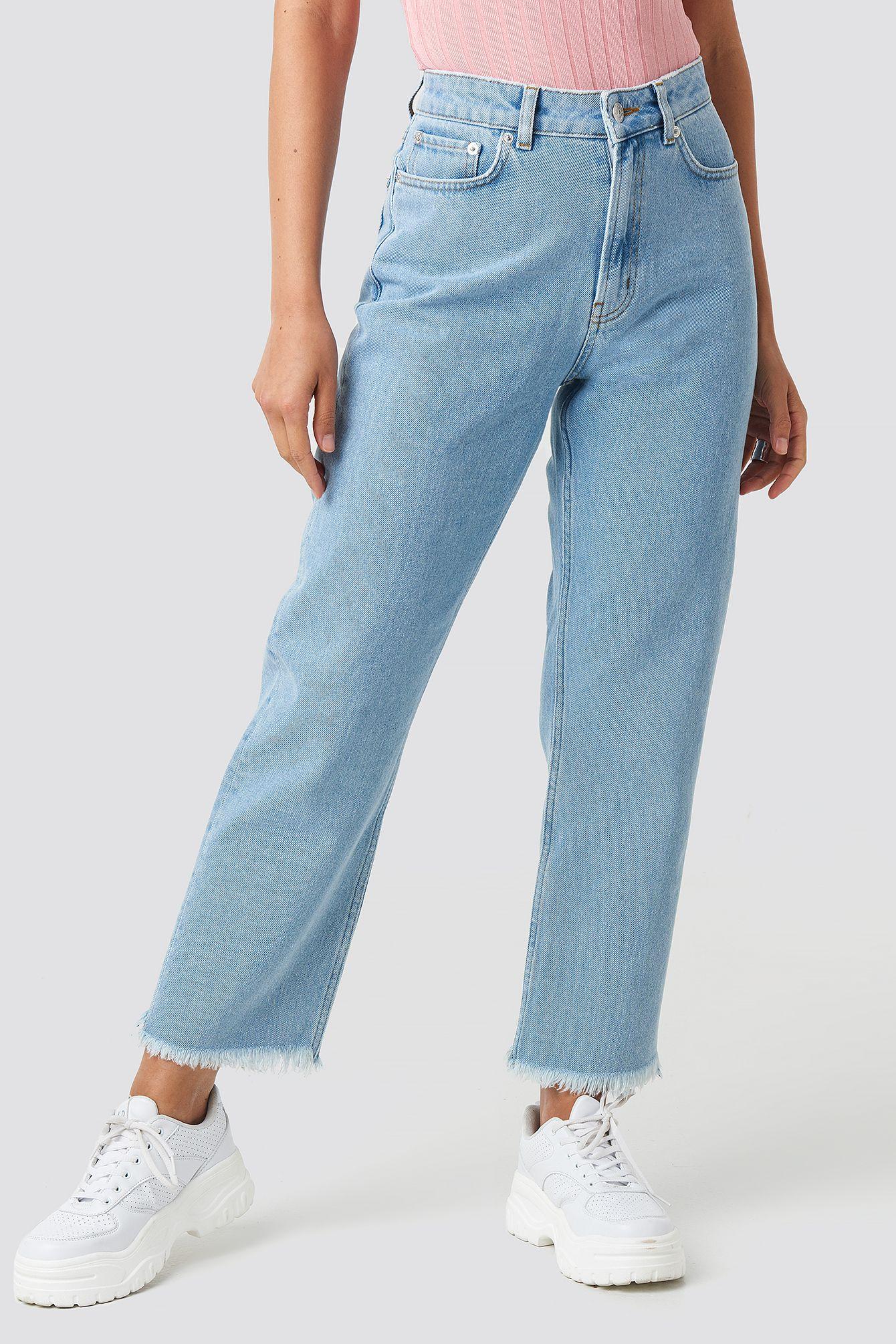 Mid Rise Straight Jeans Blau