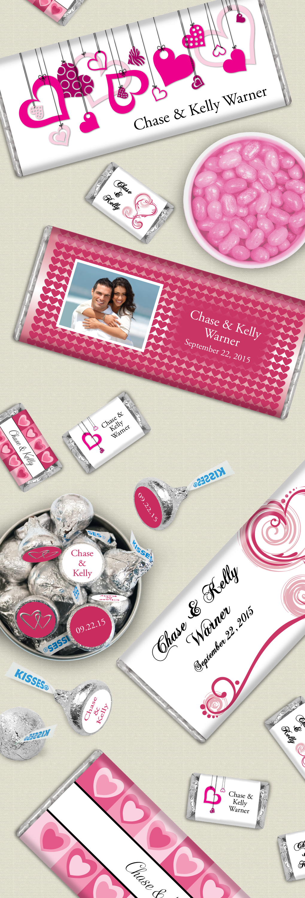 Pink Wedding Candy Buffet: Personalized chocolate bars, pink Jelly ...