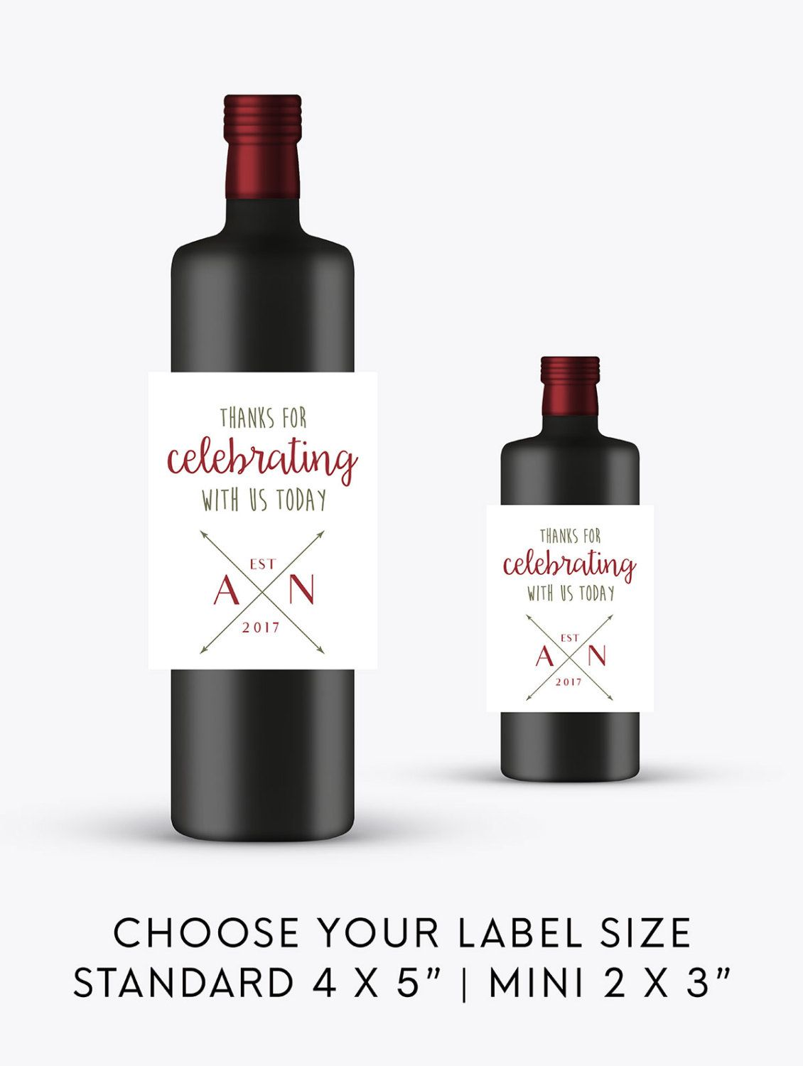 Thanks for Celebrating Wedding Wine Bottle Labels | Engagement Wine ...