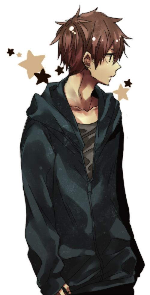 Anime Characters Jacket : Boy with brown hair and blue hoodie anime manga