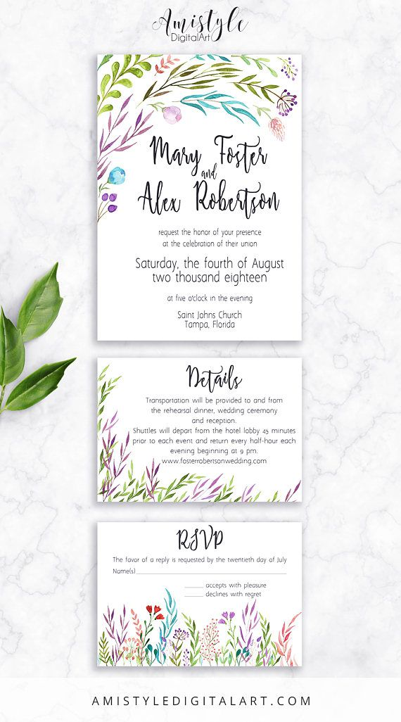 Printable wedding invitation set - with watercolor leaves by - invitation unveiling