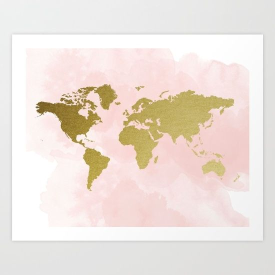 Blush pink gold world map travel nursery gold world map blush pink gold world map travel nursery gold world map watercolour gumiabroncs Gallery