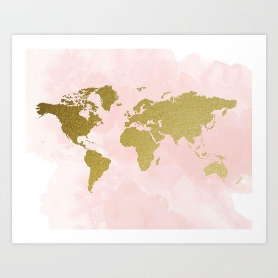 Gold World Map Wall Art.Blush Pink Gold World Map Travel Nursery Gold World Map