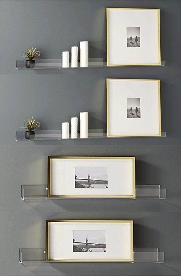 4 Clear Heavy Duty Floating Shelves - Acrylic Bathroom Shelf Sets ...
