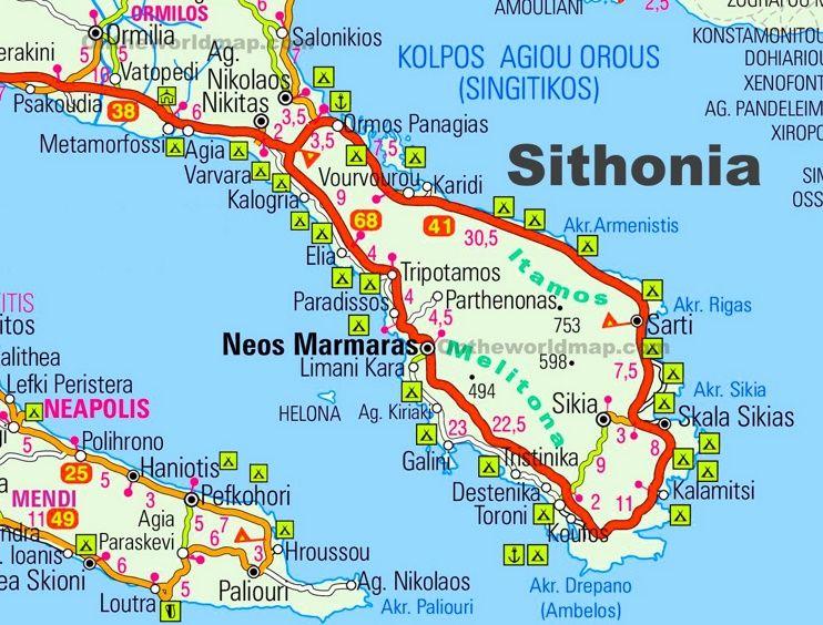 Map of Sithonia - Michelin Sithonia map - ViaMichelin