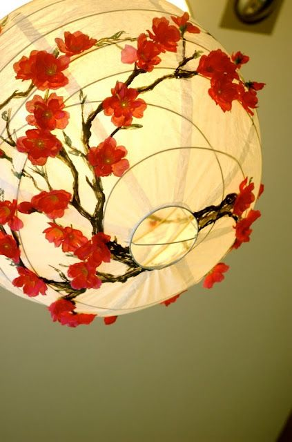 Abat Jour Boule Papier Fleurs Cerisier Rose Vert Jaune