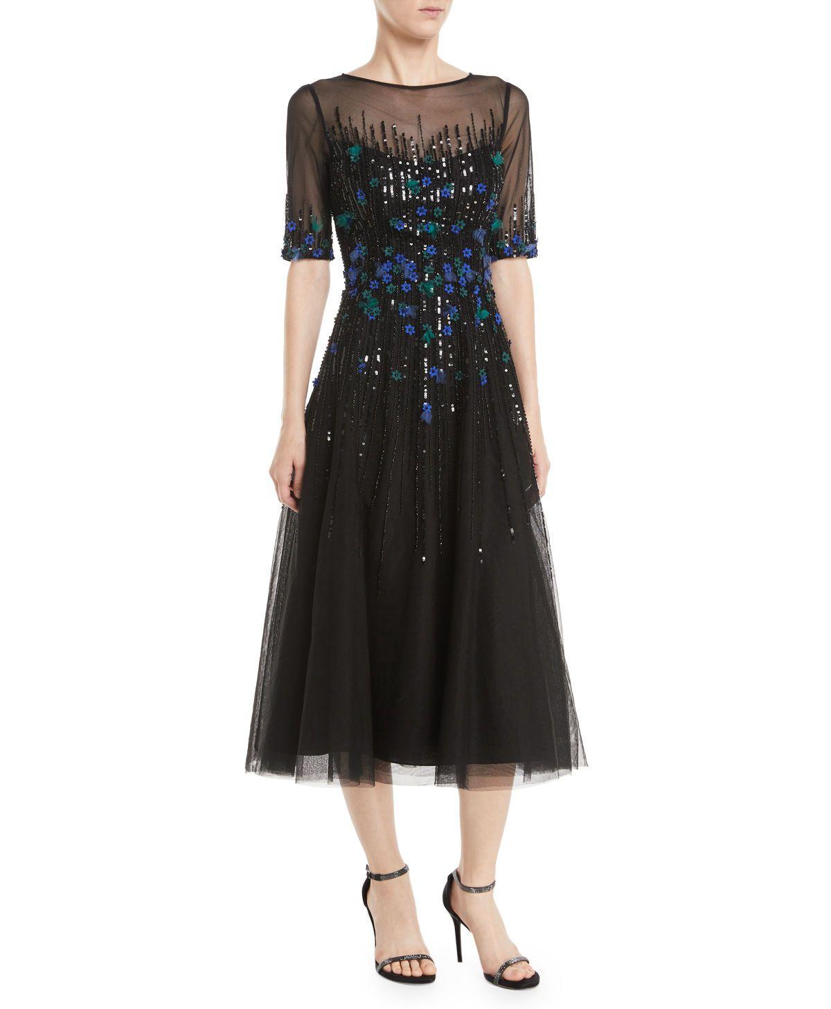 256ce24b49b Teri Jon at Neiman Marcus. 3 4-Sleeve Florals Beaded Tulle Cocktail Dress