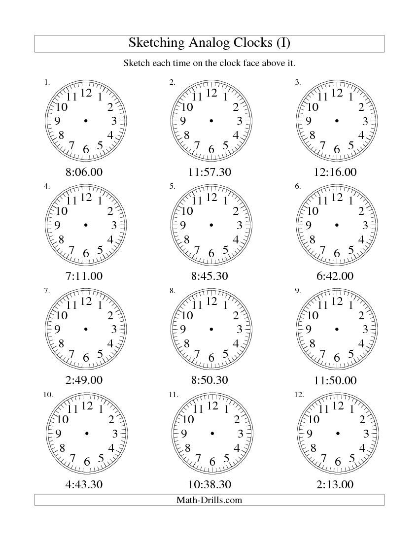 Sketching Time on Analog Clocks in 30 Second Intervals I free – Analog Clock Worksheet