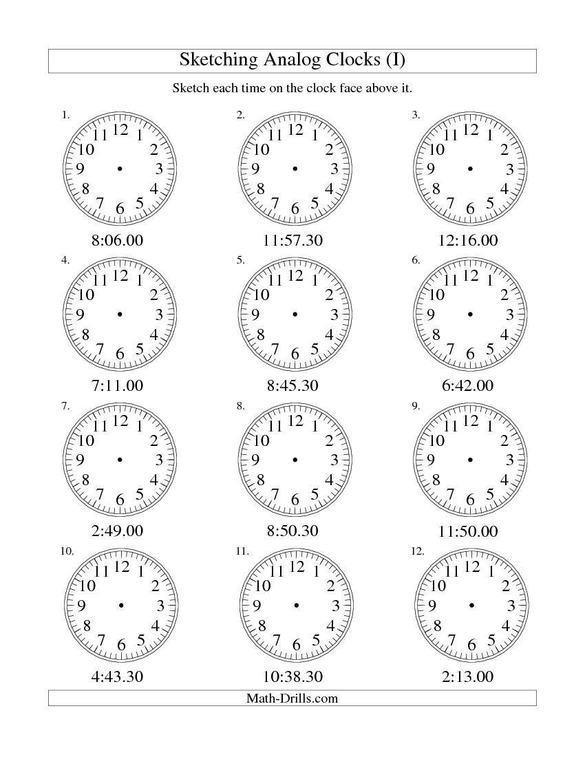Sketching Time on Analog Clocks in 30 Second Intervals I free – Analog Clock Worksheet