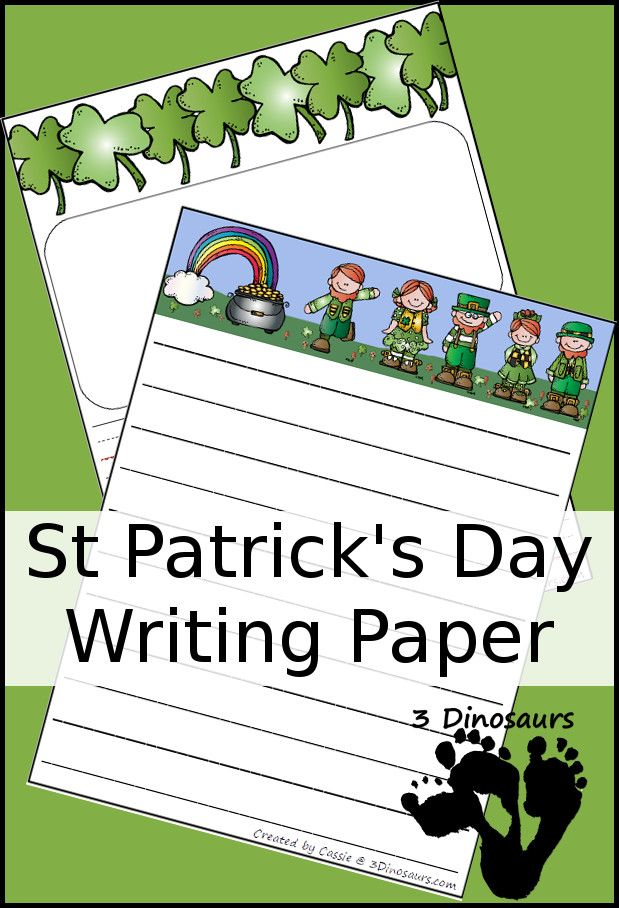 Free St Patricku0027s Day Writing Paper two types with lined and - lined writing paper