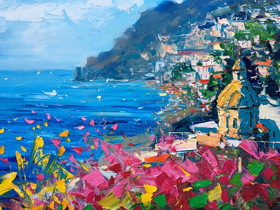 Positano Painting On Canvas Original Art Impressionist Italy Etsy Italy Painting Seascape Wall Art Seascape Print