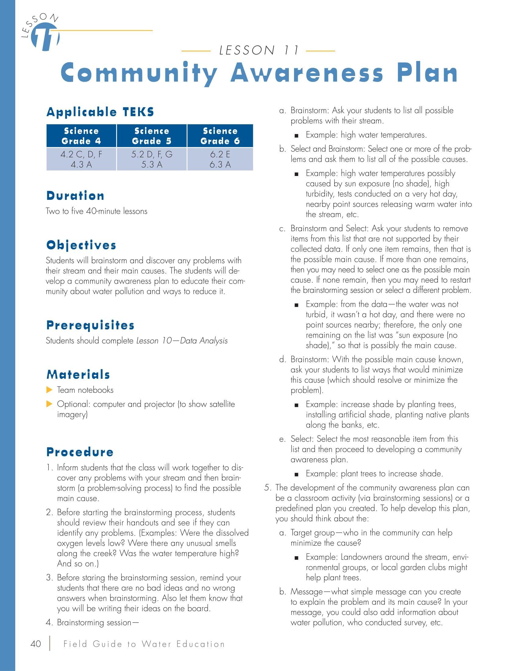Community Awareness Plan Lesson Plan