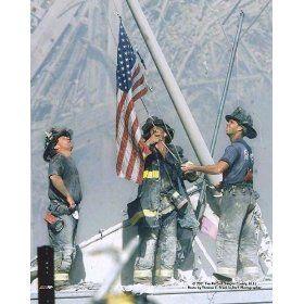 World Trade Center 9//11 Firemen At American Flag Ground Zero Silver Halide Photo