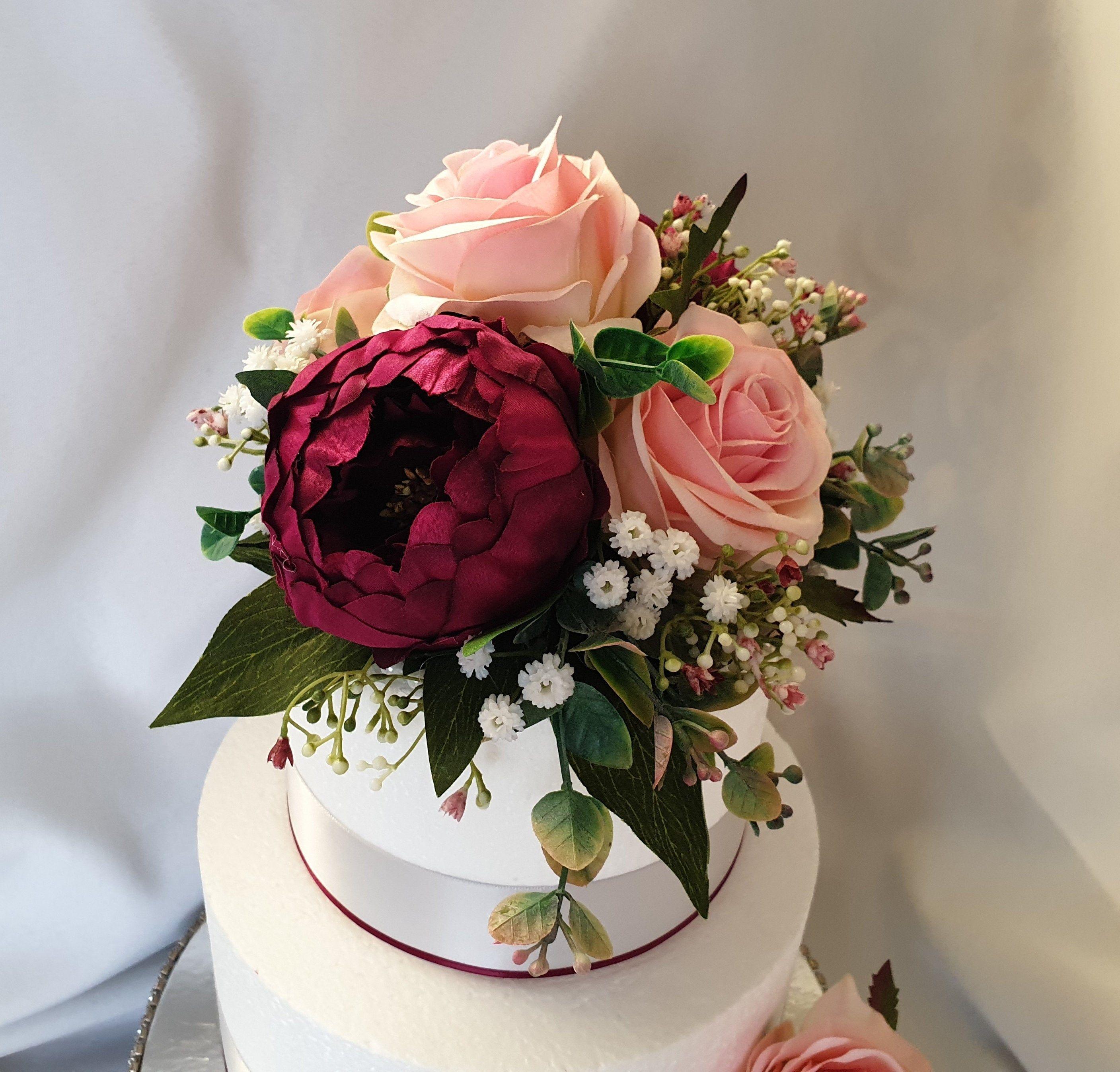 Burgandy cake topper rustic peony rose silk fake flowers 2