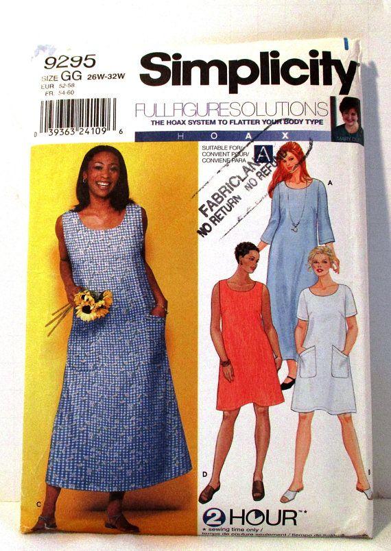 Simplicity 9296 Jumper Dress Pattern Size GG 26 28 30 32 W Full ...