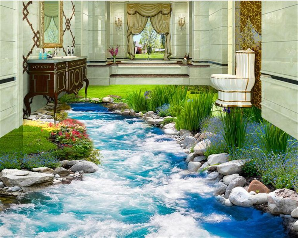 3d Fußboden Fliesen ~ Beibehang mode fortschrittliche tapete gras fließende wasser d