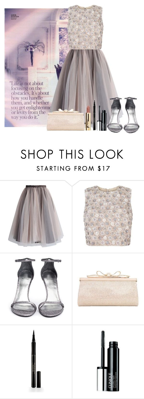 """""""Life isn't about focusing on the obstacles"""" by glitterlovergurl ❤ liked on Polyvore featuring Chicwish, Stuart Weitzman, Judith Leiber, Elizabeth Arden and Clinique"""